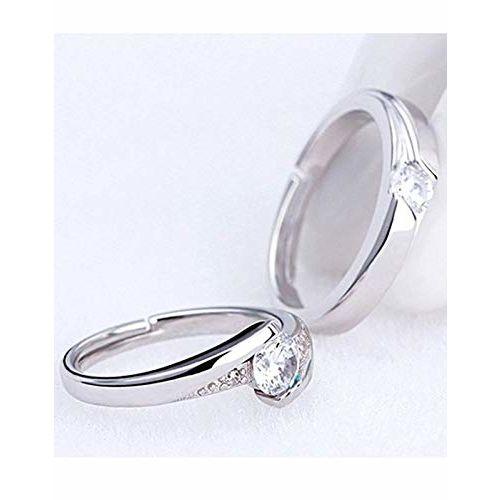 karatcart Platinum Plated Silver Metal Elegant Couple Adjustable Solitare Ring for Men and Women