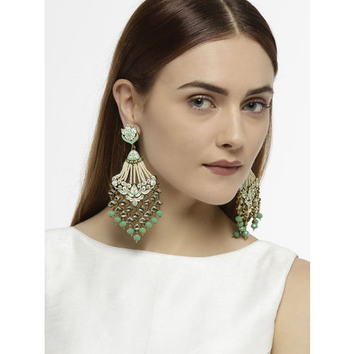 Zaveri Pearls Women Gold-Toned & Sea Green Contemporary Drop Earrings