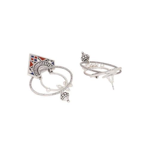 Studio Voylla Silver-Plated Oxidised Circular Drop Earrings