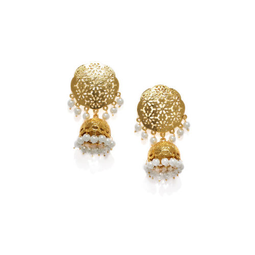 Zaveri Pearls Women Gold-Toned & White Dome Shaped Jhumkas