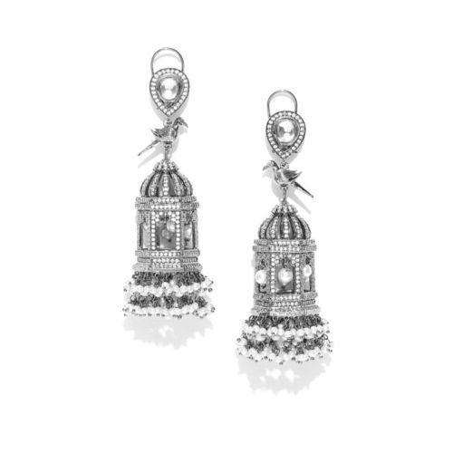 Designs By Jewels Galaxy Gunmetal-Toned & Off-White Rhodium-Plated Handcrafted Jhumkas