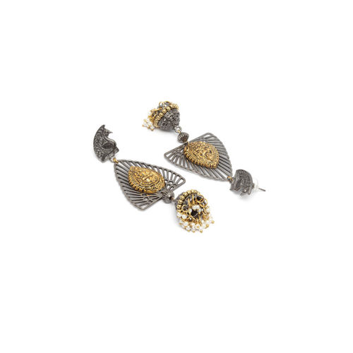 DIVA WALK Gold-Plated & Black Dome Shaped Handcrafted Drop Earrings
