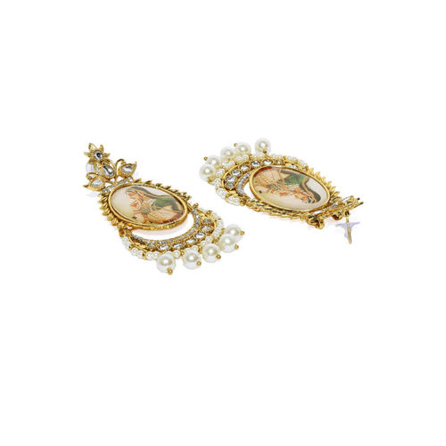 Zaveri Pearls Gold-Plated Oval Drop Earrings