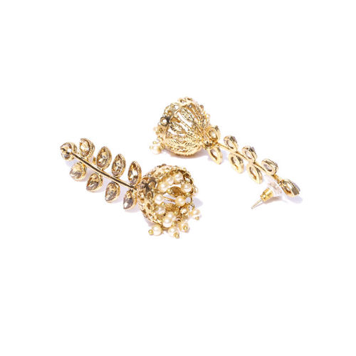 Zaveri Pearls Off-White Gold-Plated Leaf Shaped Jhumkas