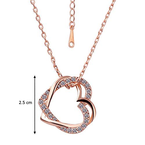Peora Embracing Hearts-in-Love 18K Rose Gold Plated Austrian Crystal Pendant for Girls and Women