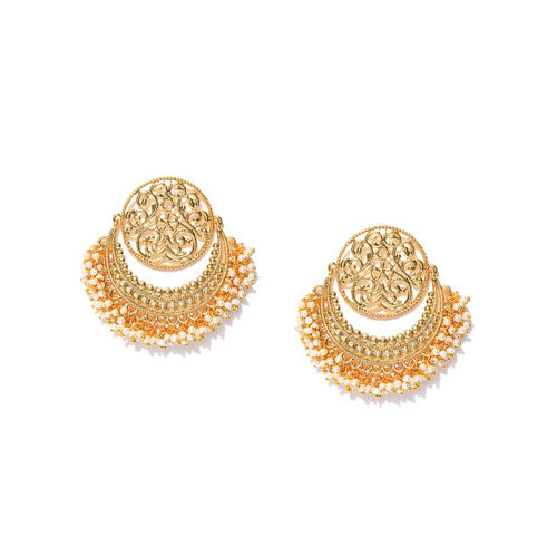 Zaveri Pearls Off-White Gold-Plated Circular Chandbalis