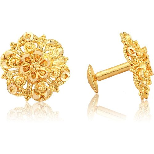 Vighnaharta Traditional South Screw Back Alloy Gold and Micron Plated Round Earring Alloy Stud Earring