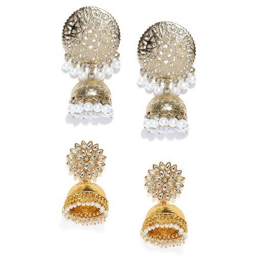 Zaveri Pearls Combo of 2 Kundan & Pearls Zinc Jhumki Earring