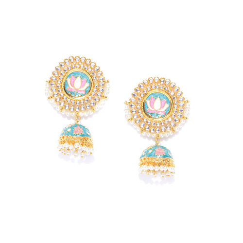 YouBella Blue & Pink Gold-Plated Enamelled Handcrafted Dome Shaped Jhumkas