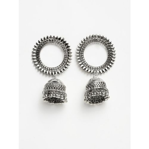 Moedbuille Silver-Toned Dome Shaped Jhumkas