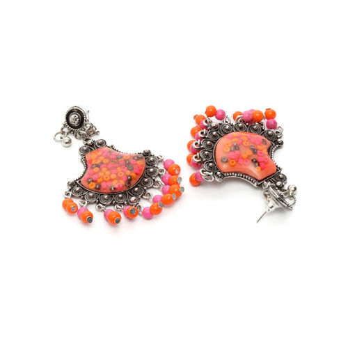 Moedbuille Oxidised Silver-Plated & Pink Handcrafted Drop Earrings