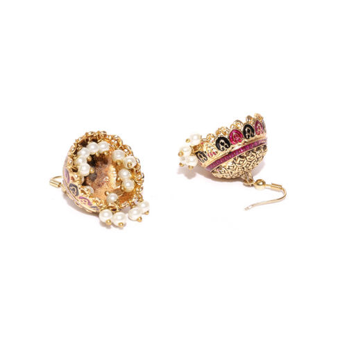 Spargz Pink & Off-White Gold-Plated Meenakari Dome-Shaped Jhumkas