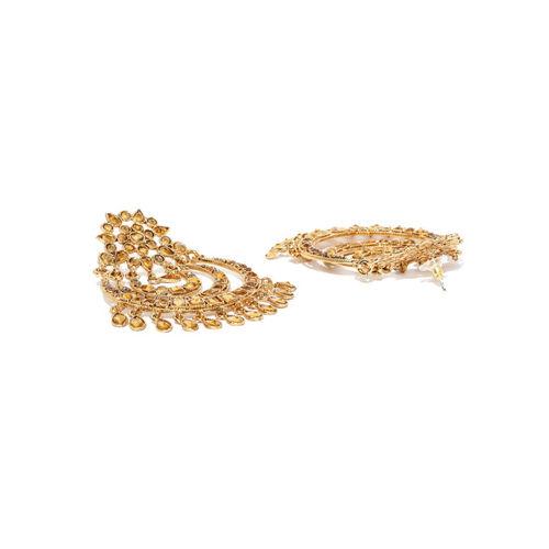 Zaveri Pearls Gold-Plated Stone-Studded Crescent Shaped Chandbalis