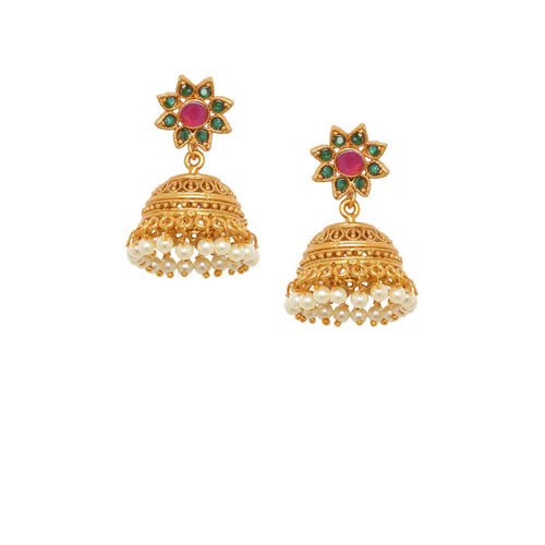 Voylla Gold-Toned & Green Handcrafted Dome Shaped Jhumkas