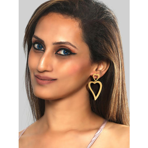 Foxy Sperks Gold-Toned Heart Shaped Drop Earrings