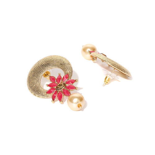 Zaveri Pearls Red & Cream-Coloured Gold-Plated Crescent Shaped Drop Earrings