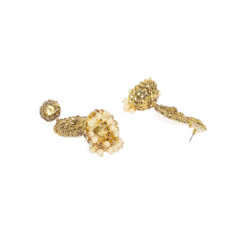 Zaveri Pearls Gold-Toned & White Classic Jhumkas