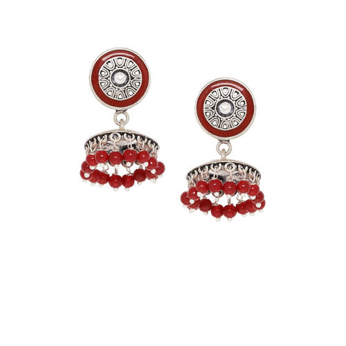 Voylla Oxidised Silver-Plated & Red Circular Jhumkas