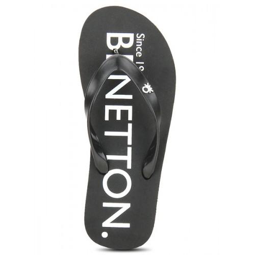 United Colors of Benetton Black Rubber Slip On Flip Flops
