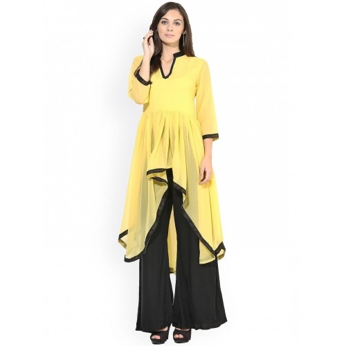 f91f7c22ed Buy AKS Yellow Georgette Solid High-Low Kurti For Women online ...