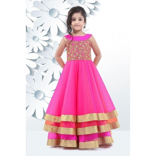 Buy three layered stunning kids gown in pink online looksgud three layered stunning kids gown in pink voltagebd Choice Image