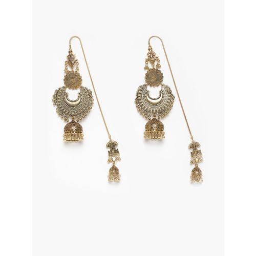 DIVA WALK Women Gold-Plated Handcrafted Contemporary Jhumkas