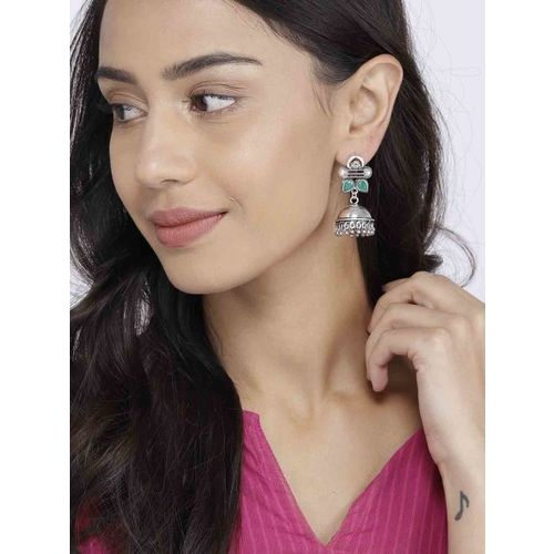 Ayesha Oxidized Green & Silver-Toned Dome Shaped Jhumkas