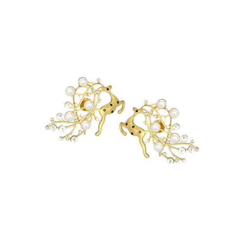 MIDASKART Gold-Toned Rhodium-Plated Contemporary Studs