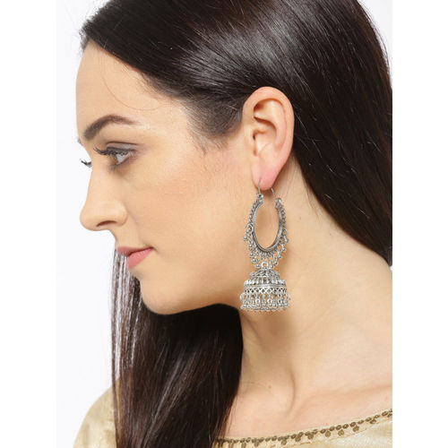 YouBella Oxidised Silver-Plated Textured Dome Shaped Jhumkas
