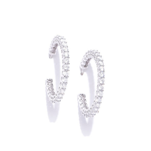 Carlton London Silver-Toned Rhodium-Plated Stone-Studded Circular Half Hoop Earrings