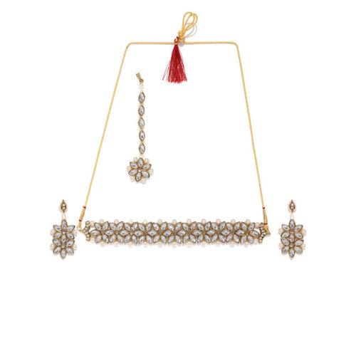 Zaveri Pearls Traditional Stone Studded & Pearls Jewellery Set