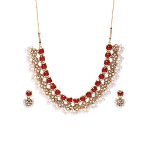 Zaveri Pearls Gold Toned & Red Ethnic Kundan & Pearls Jewellery Set