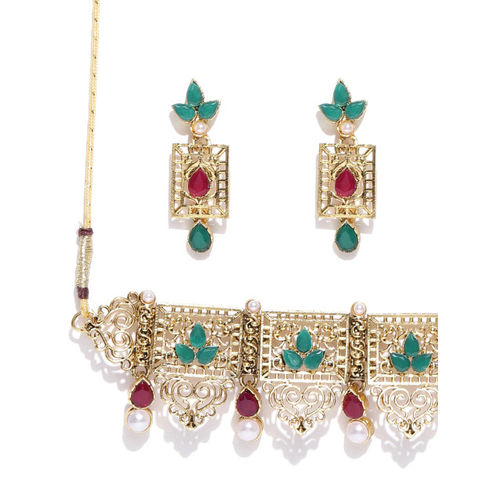 Zaveri Pearls Antique Gold-Toned & Green Stone-Studded Beaded Jewellery Set