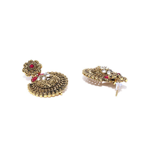 Zaveri Pearls Antique Gold-Toned & Pink Stone-Studded Textured Jewellery Set