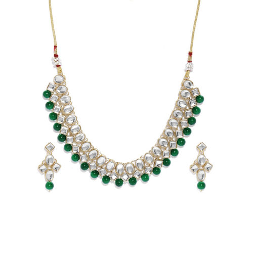 Zaveri Pearls Gold Toned Kundan & Green Beads Jewellery Set
