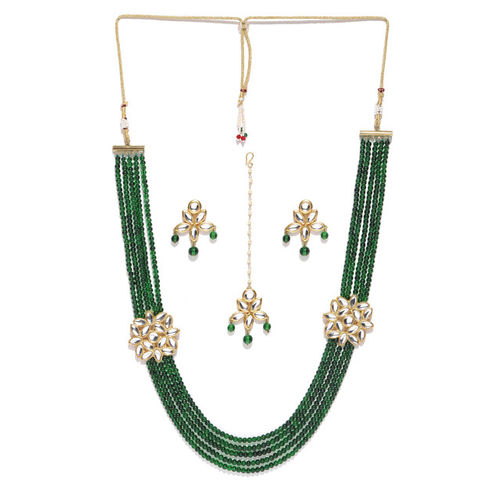 KARATCART Green Gold-Plated Kundan-Studded Handcrafted Jewellery Set