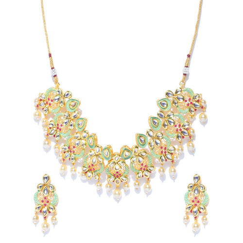 Melani Borsa Green & Off White Gold-Plated Kundan-Studded Handcrafted Jewellery Set