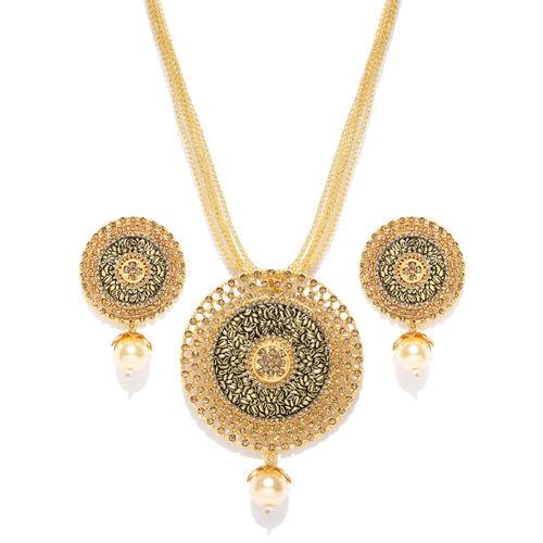 PANASH Gold-Toned Stone-Studded Jewellery Set
