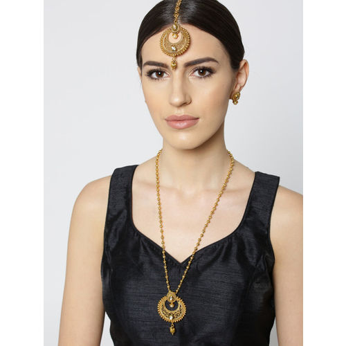 Zobby Gold-Plated Handcrafted Stone-Studded Crescent-Shaped Jewellery Set