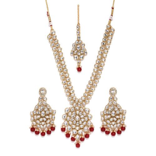 Zaveri Pearls Gold Toned & Red Kundan Jewellery Set