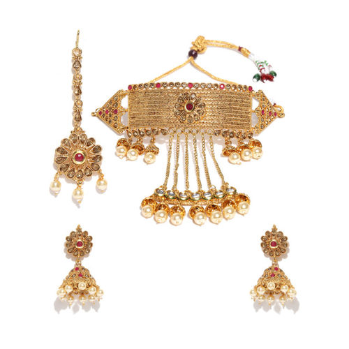 Zaveri Pearls Gold-Toned Kundan Jewellery Set