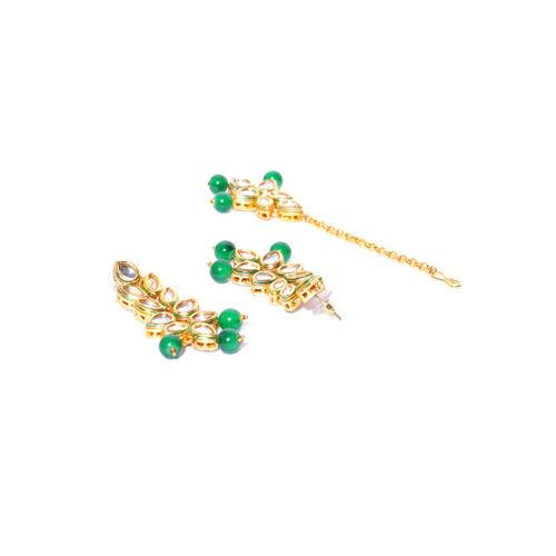 damani Green Gold-Plated Stone-Studded Layered Jewellery Set