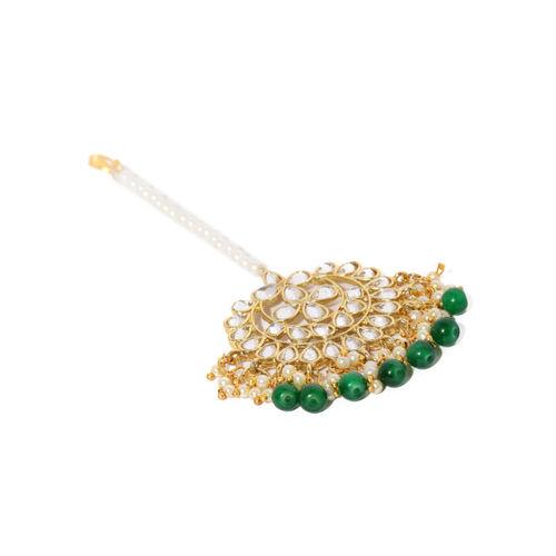 Zaveri Pearls Gold-Toned Traditional Kundan & Green Beads Jewellery Set