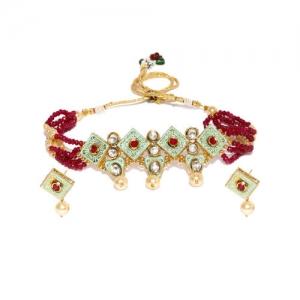 Sukkhi Gold Plated Mint Collection Kundan-Studded Jewellery Set