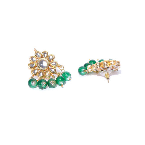 Zobby Off-White & Green Gold-Plated Kundan-Studded Handcrafted Jewellery Set