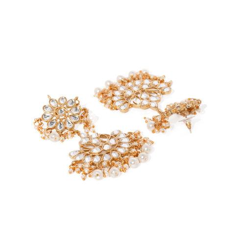 Zaveri Pearls Gold-Toned Kundan & Pearls Traditional Jewellery Set
