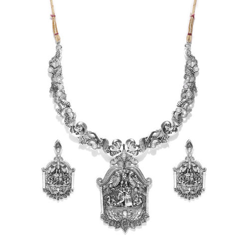 Zaveri Pearls Oxidised Silver-Toned Radha & Krishna-Textured Jewellery Set