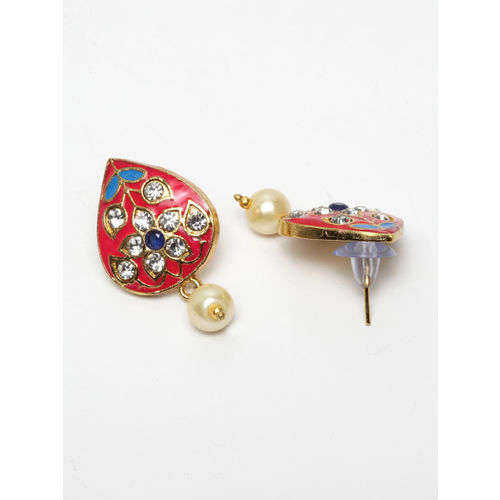 Moedbuille Gold-Plated, Pink & White Handcrafted Meenakari Desin & Kundan Jadau Jewellery Set