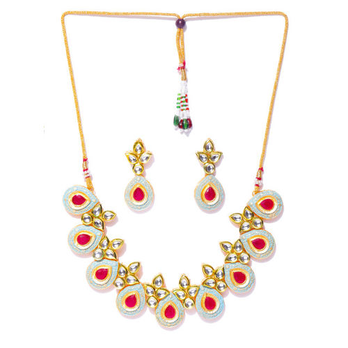 YouBella Blue & Pink Gold-Plated Enamelled Handcrafted Jewellery Set