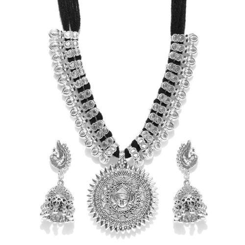 YouBella Oxidised Silver-Toned & Black Textured Jewellery Set